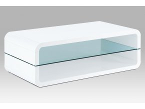 Konferenční stolek 120x60x40, MDF bílý vysoký lesk, čiré sklo