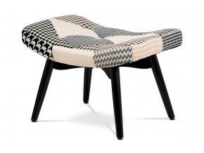 Stolička, látka černobílá patchwork, masiv kaučuk, černý mat
