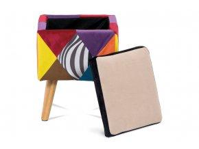 Taburet, látka patchwork, masiv kaučokovník přírodní odstín