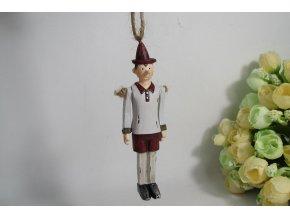 Panáček Pinokio na zavěšení, pohyblivé ruce,  polyrezinový