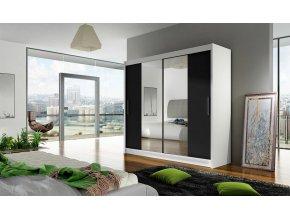 Šatní skříň BEGGA II bílá/černá zrcadlo