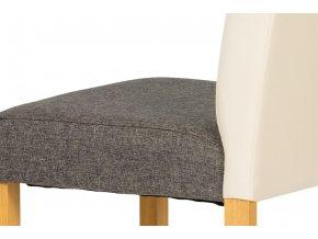 Jídelní židle buk / opěradlo koženka krémová, sedák látka šedá AUC-208crm BUK3