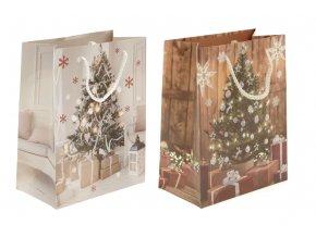 Taška dárková papírová, vánoční motiv s glitry, mix 2 druhů , cena za 1 kus