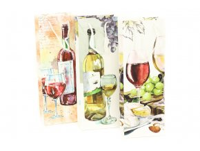 Taška dárková papírová na víno, mix 3 druhů, cena za 1 kus