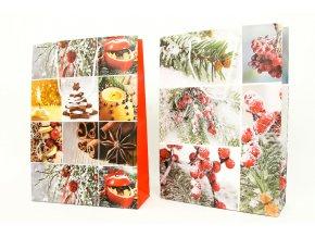 Taška dárková papírová velká, vánoční motiv, mix tří dekorů