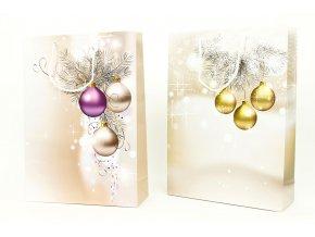Taška dárková papírová velká, vánoční motiv, mix dvou dekorů