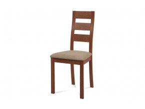 Jídelní židle, masiv buk, barva třešeň, látkový béžový potah