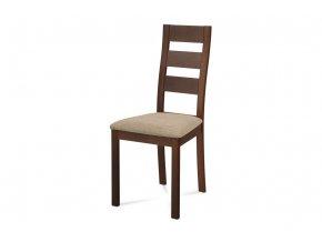 Jídelní židle masiv buk, barva ořech, látkový béžový potah