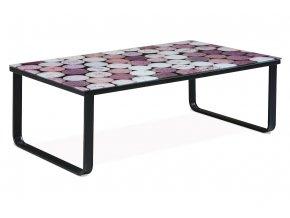 """Konferenční stolek 105x55x32 cm, sklo s potiskem """"korek""""/černá CT-1010 CORK"""