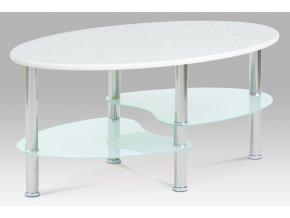 Konferenční stolek 90x55x42 cm, 3D folie/mléčné sklo/leštěný nerez