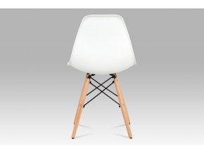 Jídelní židle CT-758 WT, plast bílý / masiv buk / kov černý