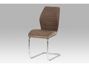 Jídelní židle, kombinace hnědé látky a cappuccino ekokůže, pohupová chromovaná p