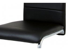 Jídelní židle, koženka černá / šedý lak DCL-102 BK