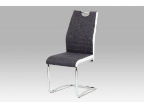 Jídelní židle šedá + bílá / chrom, DCL-444 GREY2