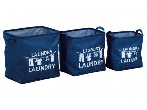 Košík na prádlo plátěný, sada 3 kusy, barva modrá