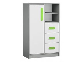 Komoda GYT 5 antracit/bílá/zelená