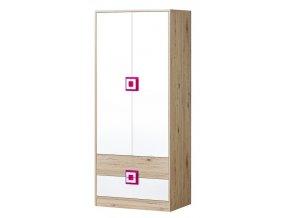 Šatní skříň NIKO 1 dub jasný/bílá/růžová
