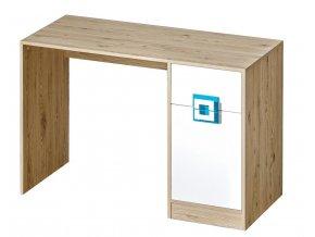 Pracovní stůl NIKO 10 dub jasný/bílá/tyrkys