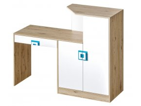 Pracovní stůl s komodou NIKO 11 dub jasný/bílá/tyrkys