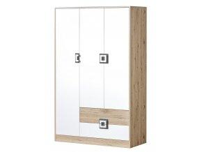 Šatní skříň 3-dveřová NIKO 3 dub jasný/bílá/popel