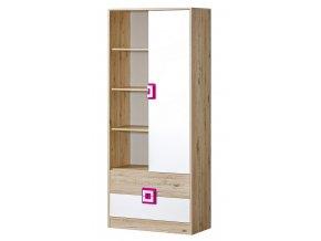 Kombinovaná skříň NIKO 4 dub jasný/bílá/růžová