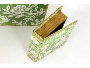Krabička ve tvaru knihy ,dřevěná potažená plátnem s potiskem, sada 3 kusy