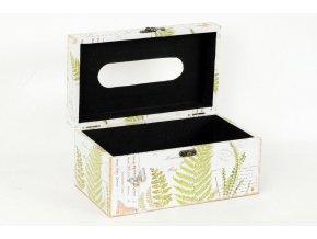 Krabička na papírové kapesníky dřevěná potažená plátnem s potiskem