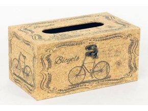 Krabička na papírové kapesníky dřevěná potažená přirodním  korkem