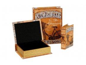 Krabička ve tvaru knihy dřevěná potažená plátnem s potiskem , sada 3 kusy