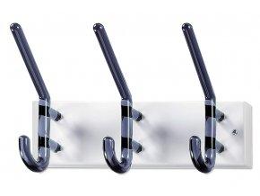 Nástěnný věšák - 3 háčky, bílý kov, kouřové akrylátové háčky