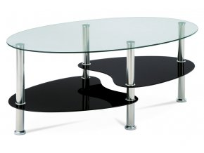 Konferenční stolek GCT-302 GBK1, čiré sklo / černé sklo / leštěný nerez