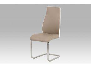 Jídelní židle cappuccino + bílá/broušený nerez, HC-911 CAP