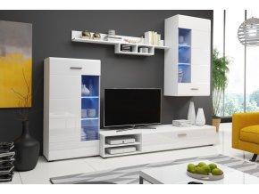 Obývací stěna STORM II bílá lesk