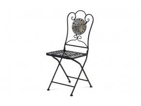 Zahradní židle, kamenná mozaika, kov, černý lak