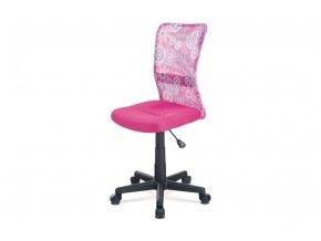 Kancelářská židle, růžová mesh, plastový kříž, síťovina motiv KA-2325 PINK