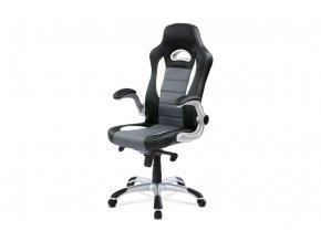 Kancelářská židle, černo-šedá koženka, synchronní mech. / plast kříž