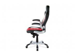Kancelářská židle, černo-červená koženka, synchronní mech. / plast kříž