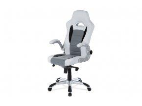 Kancelářská židle, bílo-šedá koženka, synchronní mech. / plast kříž