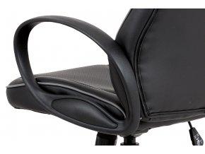 Kancelářská židle, černá-šedá ekokůže, houpací mech, plastový kříž