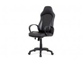 Kancelářská židle, KA-E823 GREY černá-šedá ekokůže, houpací mech.