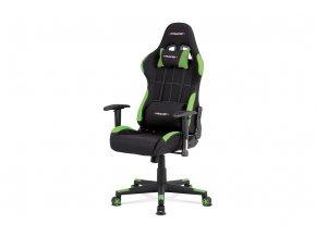 Herní křeslo e-racer, houpací mechanismus, kombinace černé a zelené látky, opěrák 90°-180°, plastový kříž