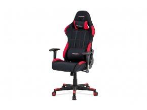 Kancelářská židle, houpací mech., černá + červená látka, plastový kříž
