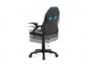 Kancelářská židle, černá ekokůže+modrá MESH, výškově nast, plast kříž