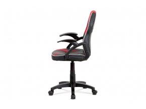 Kancelářská židle, černá ekokůže+červená MESH, výškově nast, plast kříž