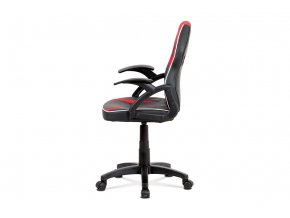 Kancelářská židle, KA-N664 RED, černá ekokůže+červená MESH