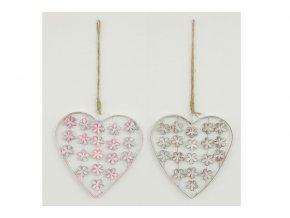 Srdce kovové závěs, barva bílá, růžová retro