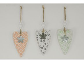 Srdce, dřevěná dekorace na pověšení, mix  3 druhy