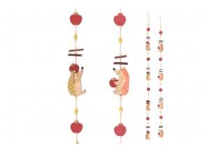 Girlanda s dřevěnou dekorací ježků, mix dvou barev. Cena za 1ks.