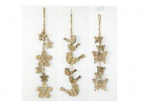 Girlanda dřevěná dekorace na pověšení, mix motýlků, ptáčků a kytiček, cena za 1 kus