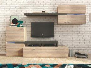 *Obývací stěna LINOSA sonoma/grafit